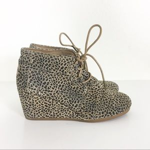 TOMS Tan Leopard Print Lace Up Wedge Booties